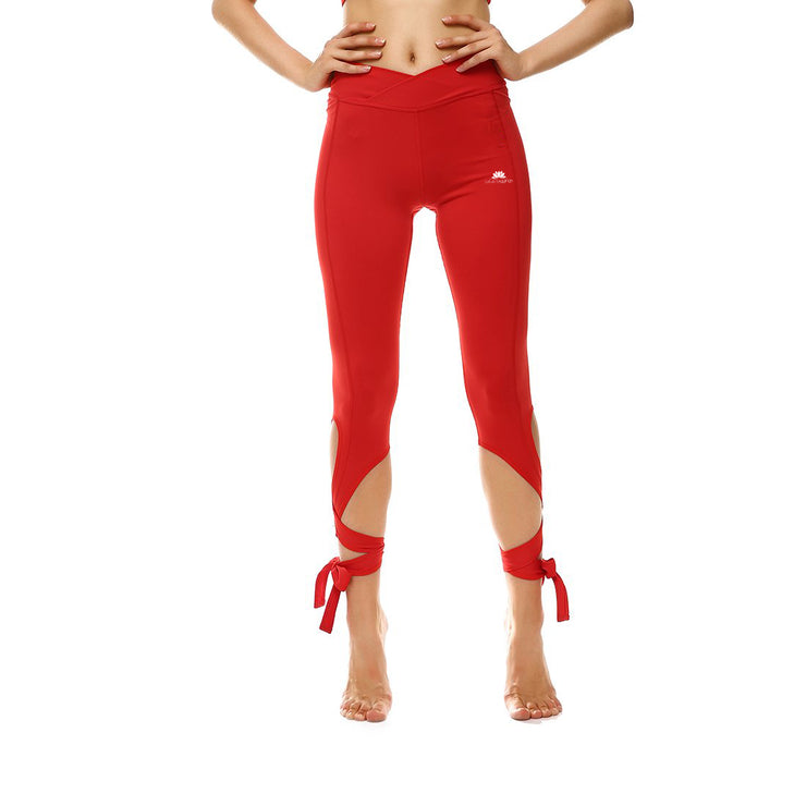 Rosy Red Tie-Up Leggings
