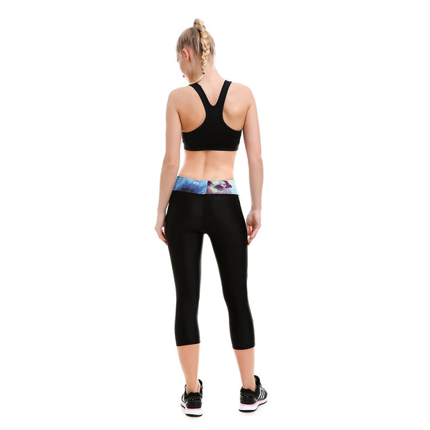 Blue Athletic Long Capri - Lotus Leggings