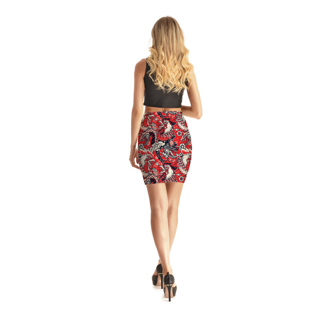 Red Rooster Bodycon Skirt - Lotus Leggings