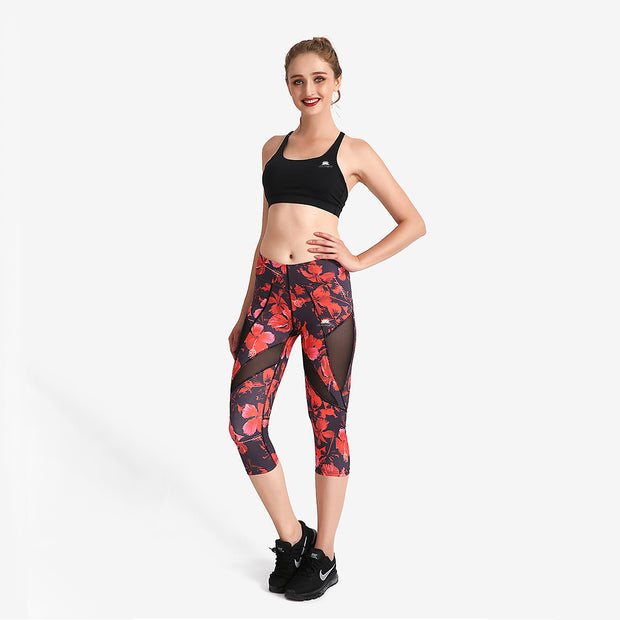 Red Bloom MaxFit Capri - Lotus Leggings