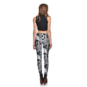 Gray Blossom Skulls Leggings - Lotus Leggings