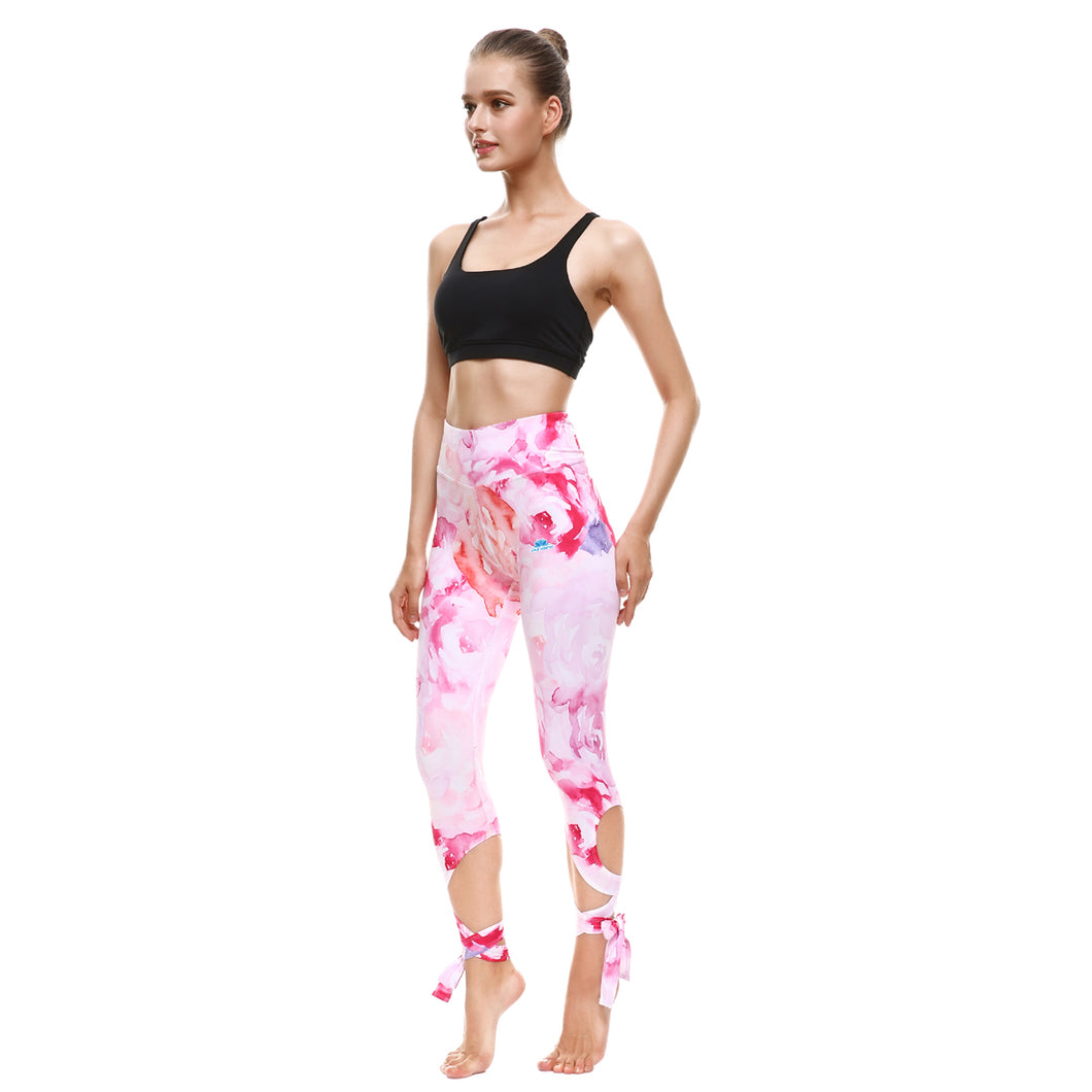 Pink Strokes Tie-Up Leggings - Lotus Leggings