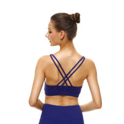 Bold Blue Criss-Cross Bras - Lotus Leggings