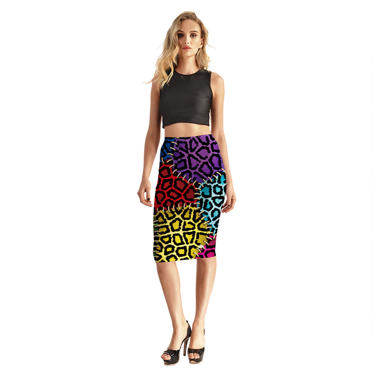 Multi-Colored Leopard Patch Pencil Skirt