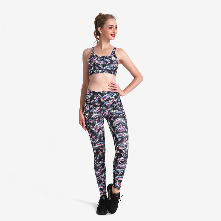 Holographic Feather PerformX Athletic Set - Lotus Leggings