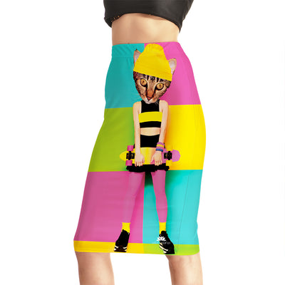 Skater Cat Pencil Skirt
