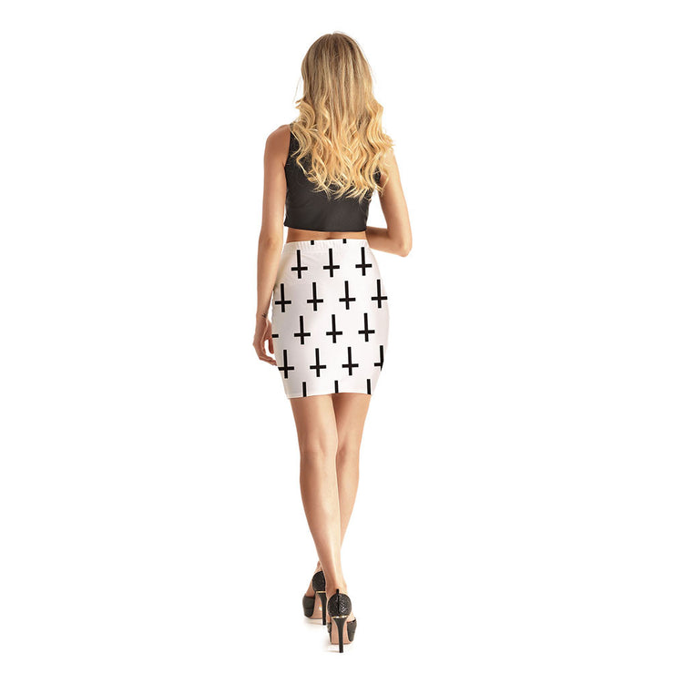 White Crosses Short Skirt - Lotus Leggings