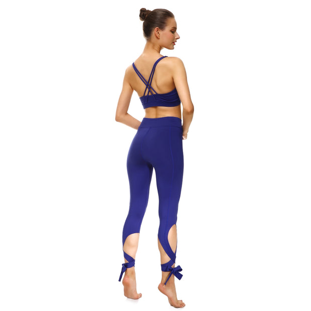 Bold Blue Tie-Up Leggings - Lotus Leggings