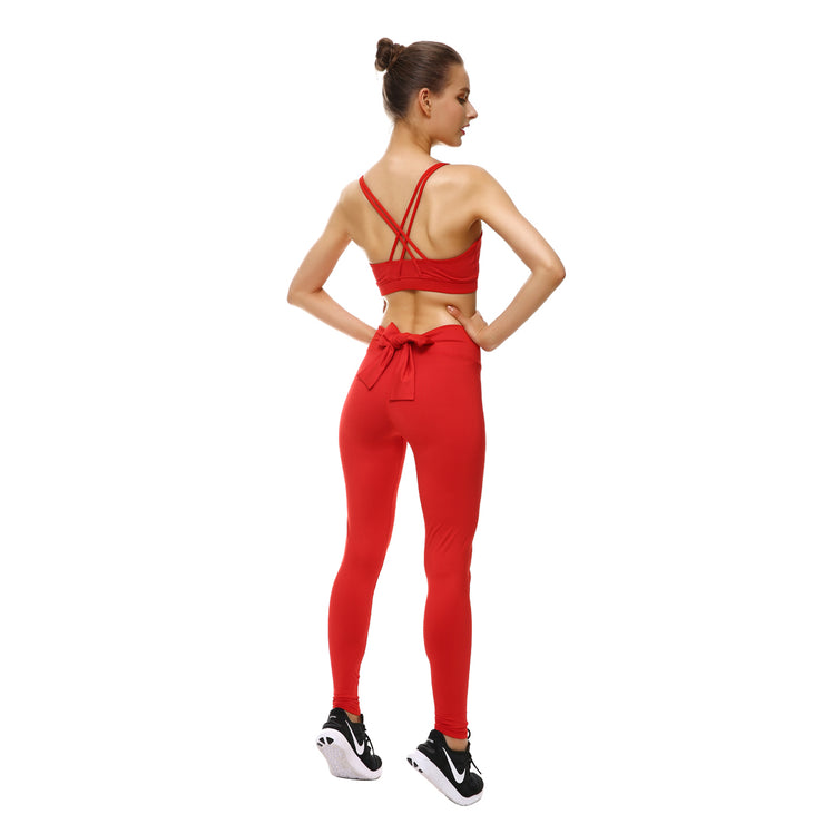Rosy Red Bow Leggings - Lotus Leggings