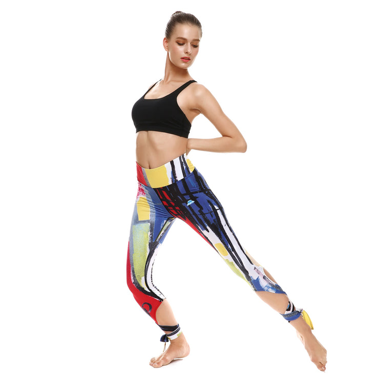 Brush Strokes Tie-Up Leggings - Lotus Leggings