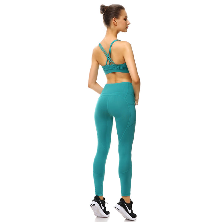 Teal PerformX Sports Set - Lotus Leggings