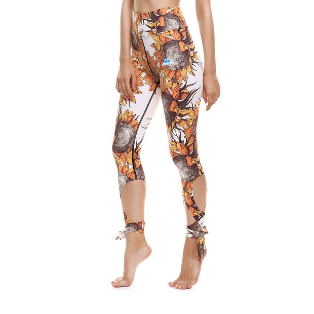 Sunflower Tie-Up Leggings - Lotus Leggings