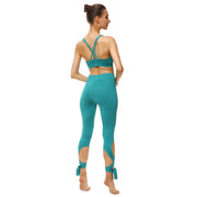 Teal Tie-Up Leggings - Lotus Leggings
