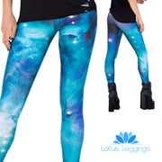 BLUE NEBULA LEGGINGS - Lotus Leggings