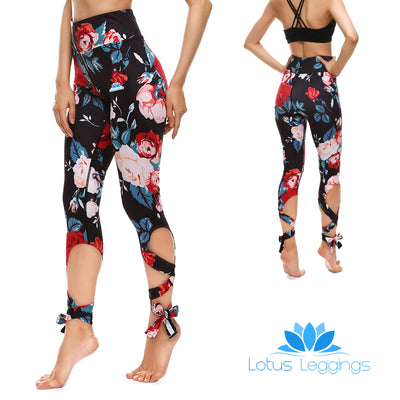 Blackout Roses Tie-Up Leggings - Lotus Leggings