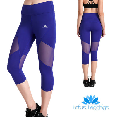 Bold Blue Capri Mesh Leggings - Lotus Leggings