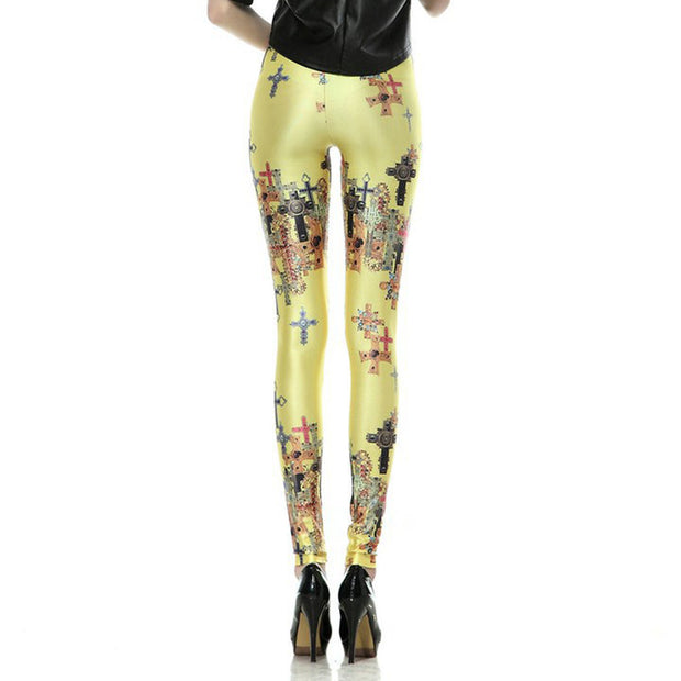 COLORFUL CROSS LEGGINGS - Lotus Leggings