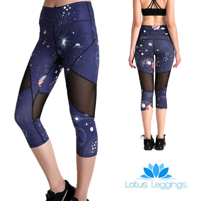 Cosmic Capri Mesh Leggings - Lotus Leggings