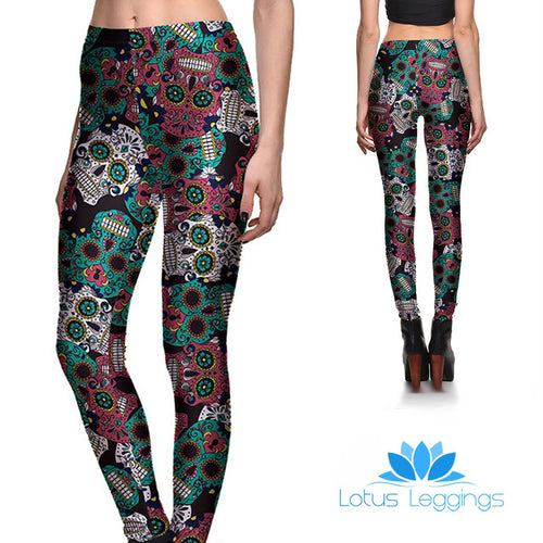 Dark Sugar Skull Leggings