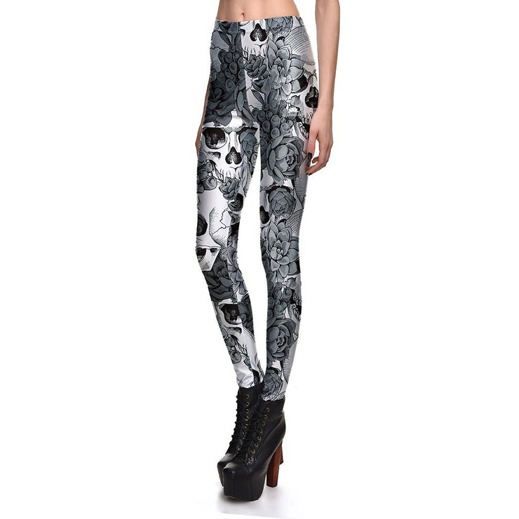 Gray Blossom Skulls Leggings