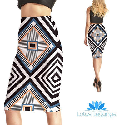 Geometric Shapes Pencil Skirt
