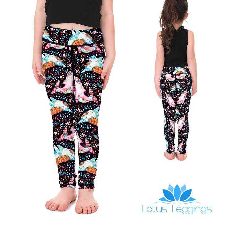 Hippy Dolphins Kid's Leggings - Lotus Leggings