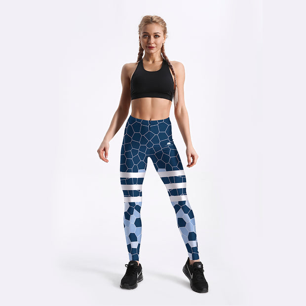 Blue Geometric Leggings