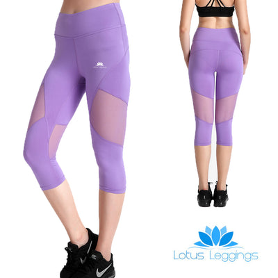 Lavender Capri Mesh Leggings - Lotus Leggings