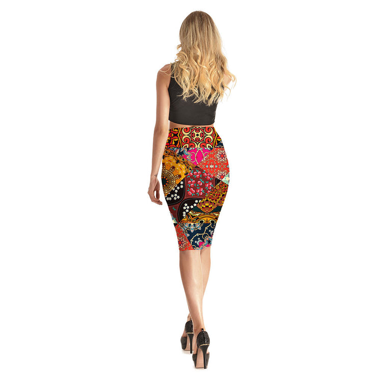 Prints on Prints Long Skirt - Lotus Leggings