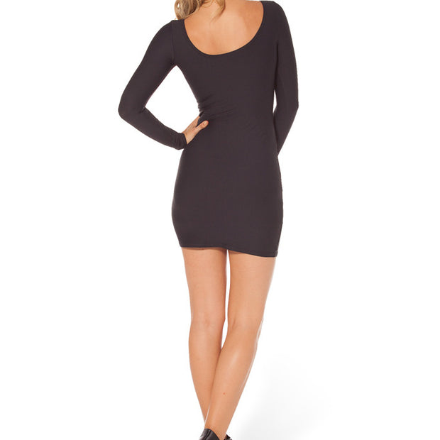 MATTE BLACK LONG SLEEVE DRESS - Lotus Leggings
