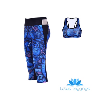 MIDNIGHT OWL ATHLETIC SET - Lotus Leggings
