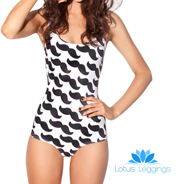 MUSTACHE ONE PIECE SWIMSUIT - Lotus Leggings