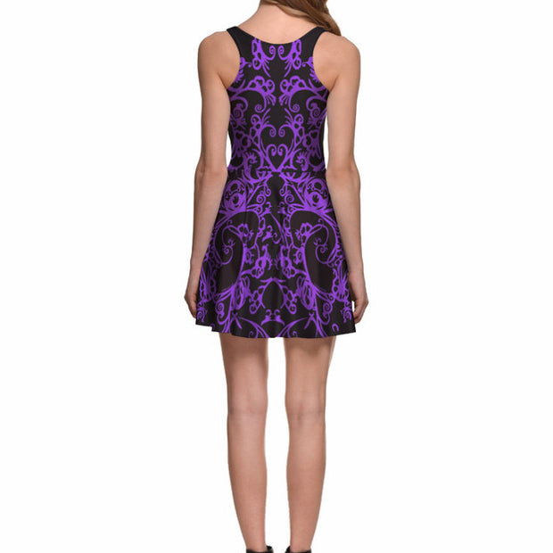 PURPLE SCROLLWORK SKATER DRESS - Lotus Leggings