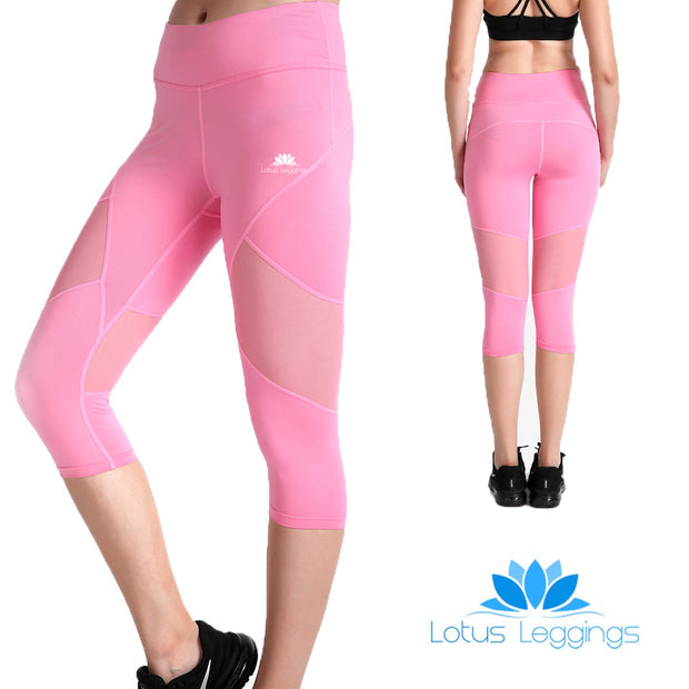 Pretty in Pink Capri Mesh Leggings - Lotus Leggings