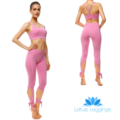 Pretty in Pink Tie-Up Sports Set - Lotus Leggings