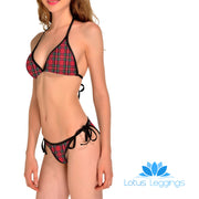 RED PLAID BIKINI - Lotus Leggings