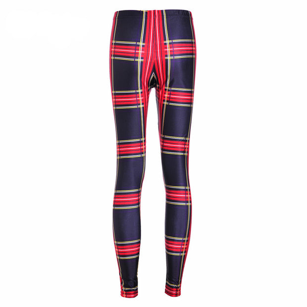 RED PLAID LEGGINGS - Lotus Leggings
