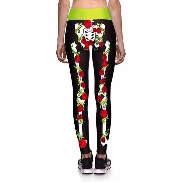 ROSES AND BONES ATHLETIC LEGGINGS - Lotus Leggings