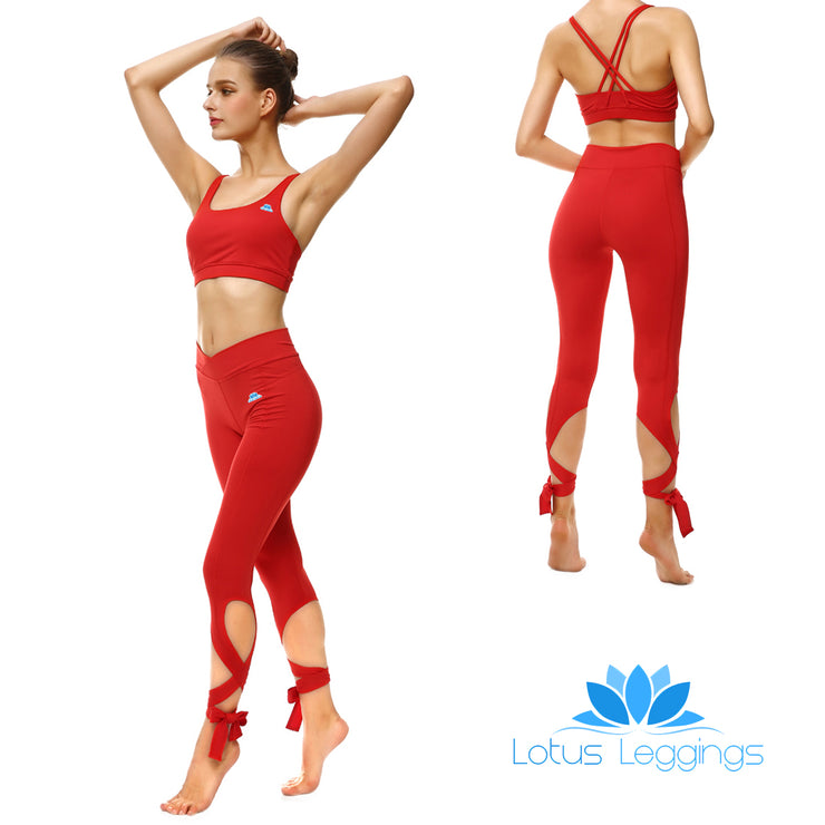 Rosy Red Tie-Up Sports Set - Lotus Leggings