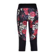 SKULLS AND ROSES ATHLETIC CAPRI - Lotus Leggings
