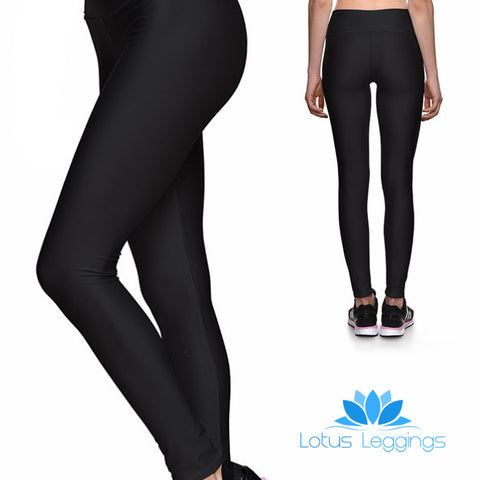 SOLID BLACK ATHLETIC LEGGINGS
