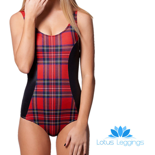 TARTAN WET LOOK ONE PIECE SWIMSUIT - Lotus Leggings