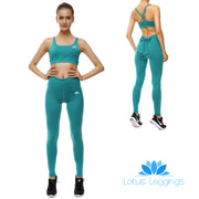Teal Bow Sports Set - Lotus Leggings