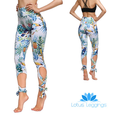 Tropical Toucan Tie-Up Leggings - Lotus Leggings