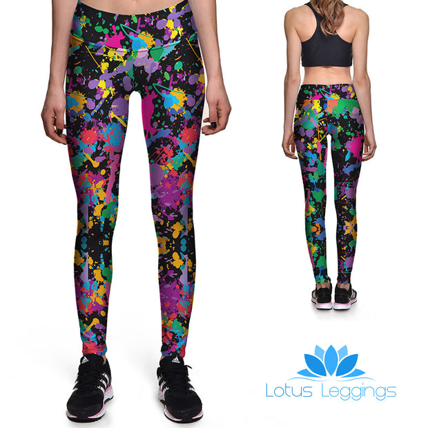 Color Splat Athletic Leggings - Lotus Leggings