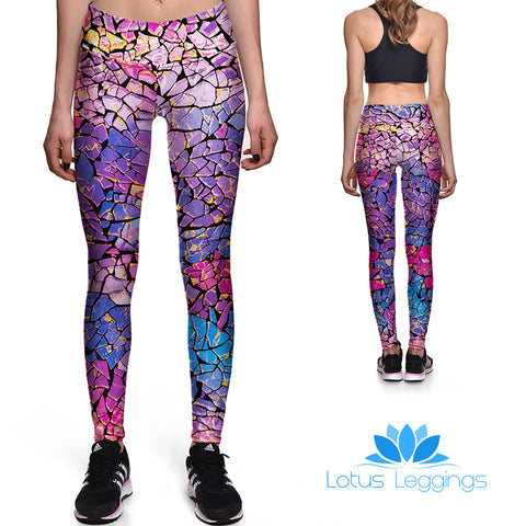 Cotton Candy Mosaic Athletic Leggings