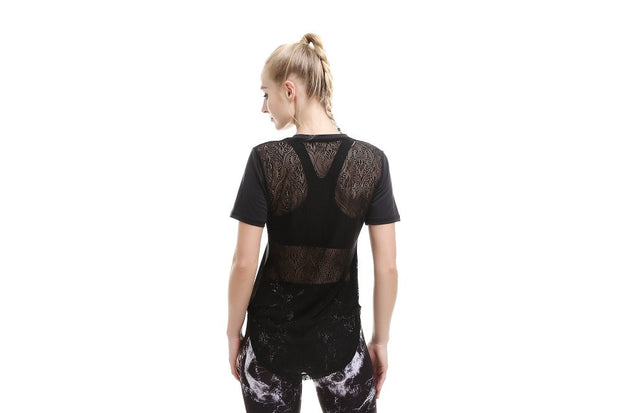 Pretty in Black MeshX Athletic Top - Lotus Leggings