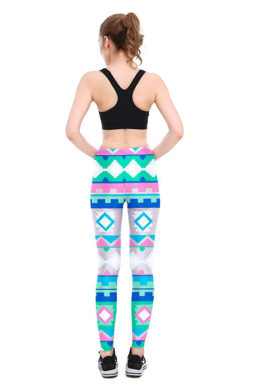 Pixel Tribal Leggings - Lotus Leggings