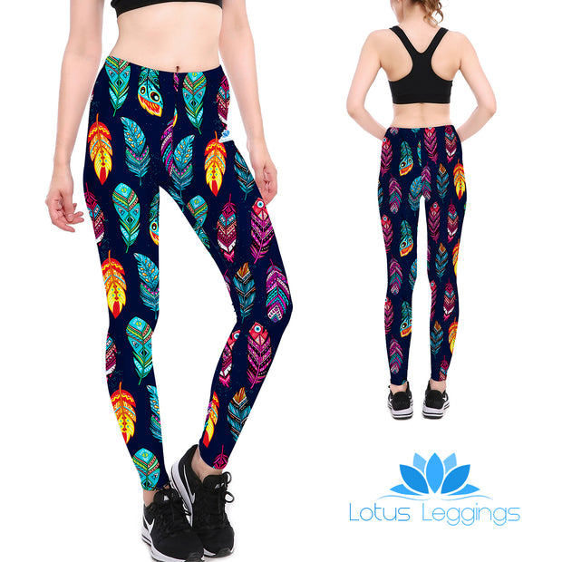 Dark Feathers Leggings - Lotus Leggings