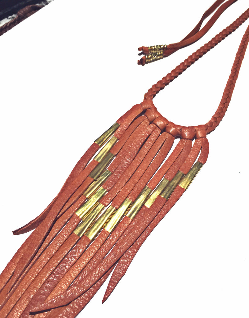 Apache Fringe Necklace: Brown Rustic Whiskey